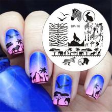 NASCIDO BONITA Zebra Lobo Animal Padrões Nail Art Stamp Template Imagem Placa BP16 Placas Prego Carimbar Conjunto