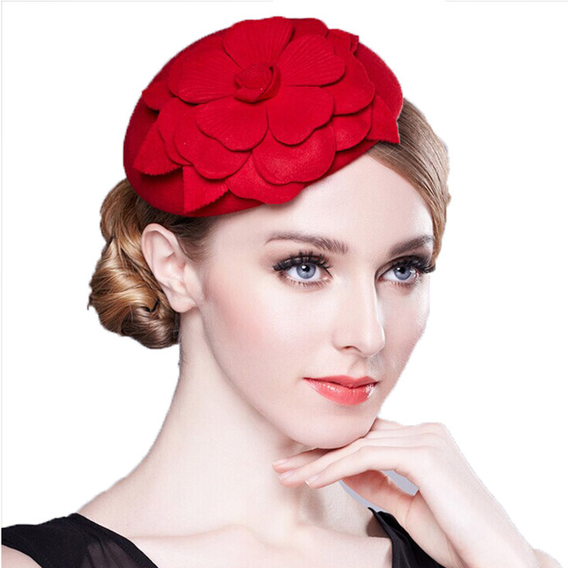 Elegant Flower HeadWear Women Lady Airline Stewardess Hat Female Red Black Grey Red Fascinator Wedding Party Formal Hat(China (Mainland))