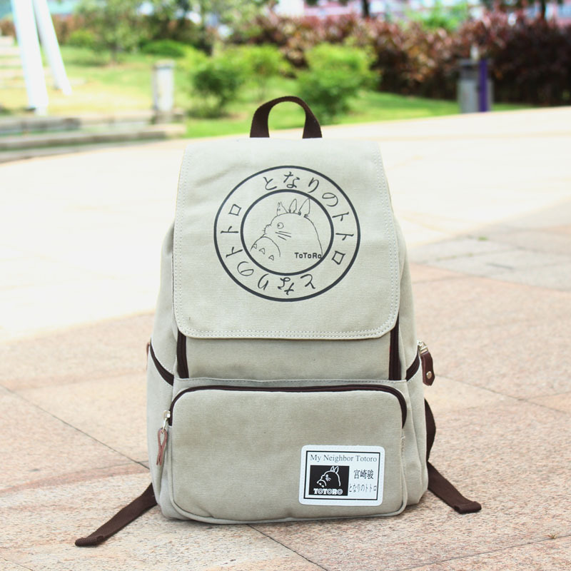 2015 New Hot Sale Fashion Style Boys & Girls Bags 14inch Canvas Laptop Backpack Popular Anime Totoro(China (Mainland))