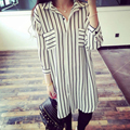 Women Stripe Shirt Casual Chiffon 3/4 Sleeve Long Blouse Jumper Tunic Dress Top