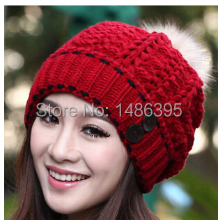 button 2014 red Korean style new fashion warm knitted winter cap hats women ladies casual thicken female beanies - Lucky Dog's House store