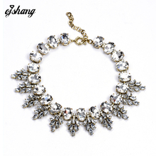 2016 Luxury Brand Crew Crystal Necklace Pendant Leaves Vintage Choker Collar Jewelry Chunky Choker Statement Necklace Women 127(China (Mainland))