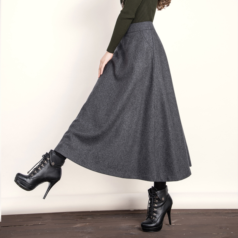 2015 autumn winter wool skirts womens vintage