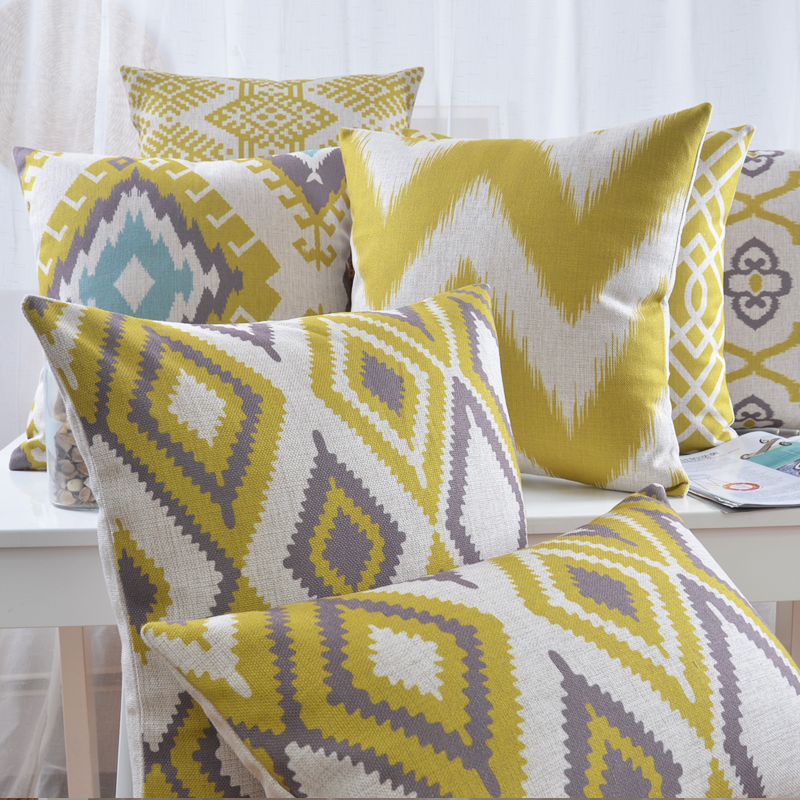 Ikea Linen Pillow Cover Geometric Yellow Grey Cushion Cover Nordico Style Home Decorative Pillow Case 45x45cm/30x50cm(China (Mainland))