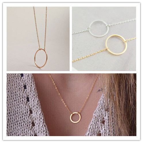 Circle Pendants Necklace Eternity Necklace Karma Infinity Silver Gold Minimalist Jewelry Necklace Dainty Forever Circle Gift(China (Mainland))