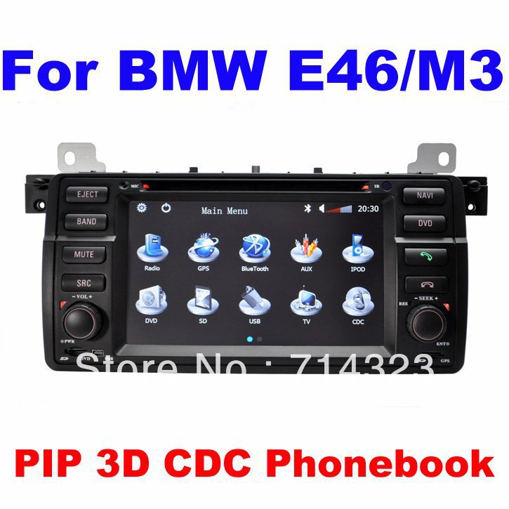 In Dash Car DVD GPS Navigation Player for BMW E46 M3 with built in GPS Map PIP RDS CDC FM AM Audio video player Free Shipping(China (Mainland))