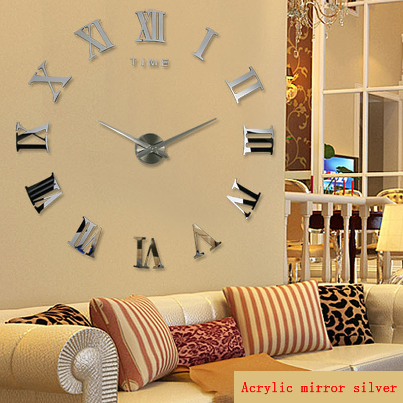 promotion 2015 new home decor large roman mirror fashion modern Quartz clocks living room diy wall clock watch free shipping(China (Mainland))