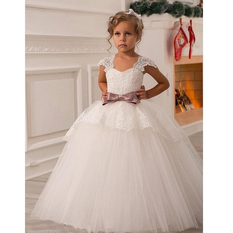 2016 fashion flower girl dresses sashes cap sleeves ball for Little flower girl wedding dresses