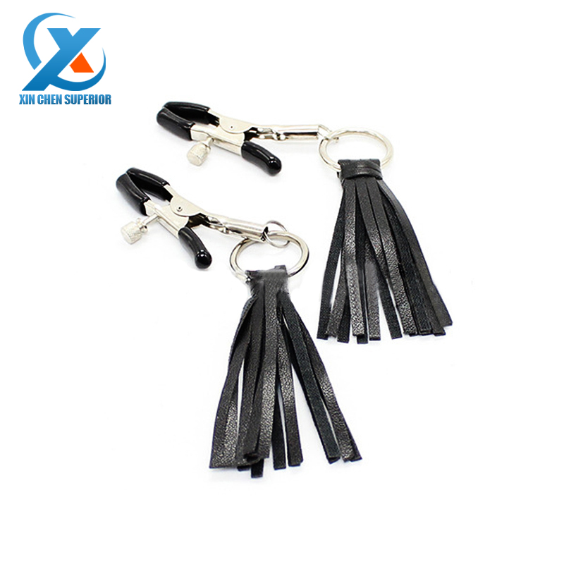Leather tassels Flirting Nipple Clamps Nipple Toys Silica Tips Nipple Clips Nipples Sex Products for Women Men Adult Games(China (Mainland))