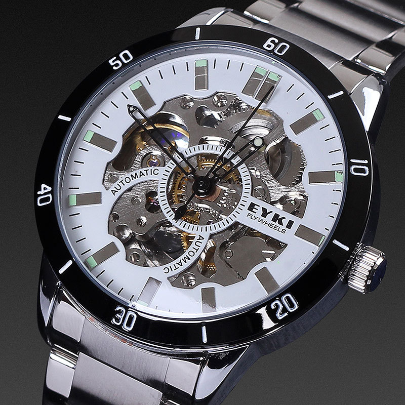 EYKI luxury brand high accuracy skeleton analog dial night light stainless steel automatic mechanical men watch 1ATM(China (Mainland))