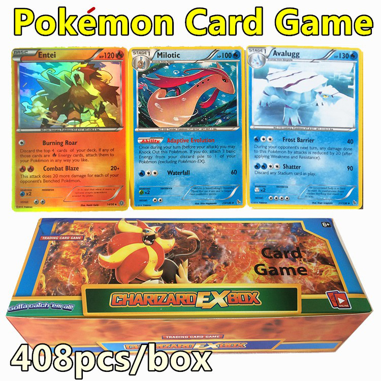 2016 New 408PCS/1lot Pokemon Cards Box Set Bulk Playing Games Toy Cards XY Mega Exs Pokeball Cards Kids Toy Gifts(China (Mainland))