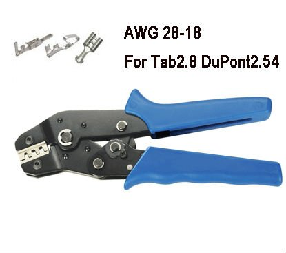 Non-Insulated Tabs Terminals Crimper Plier AWG 28-18 For Tab2.8 DuPont2.54 free shippng pressed terminal diameter:0.1~1mm2(China (Mainland))