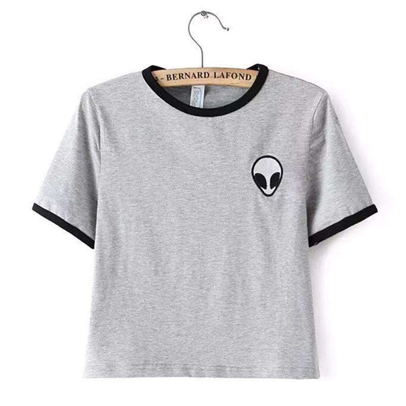 2015 Short Sleeve Alien Crop Tops Womensprint T Shirt