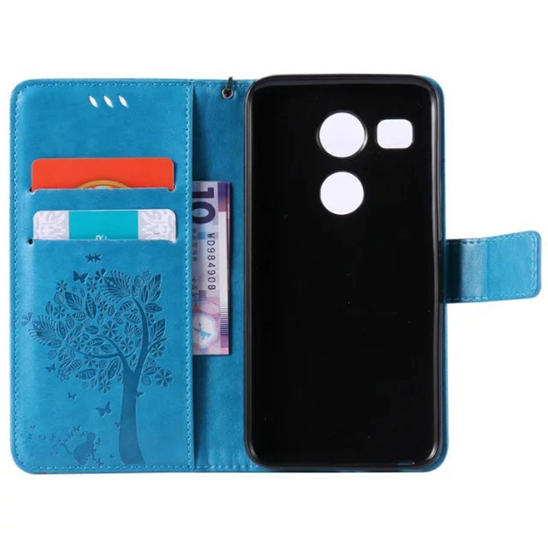 Leather case for coque LG Nexus 5X H791F H798 Case Cover for coque LG Nexus 5X Tree Pattern Mobile Phone bags+card holder