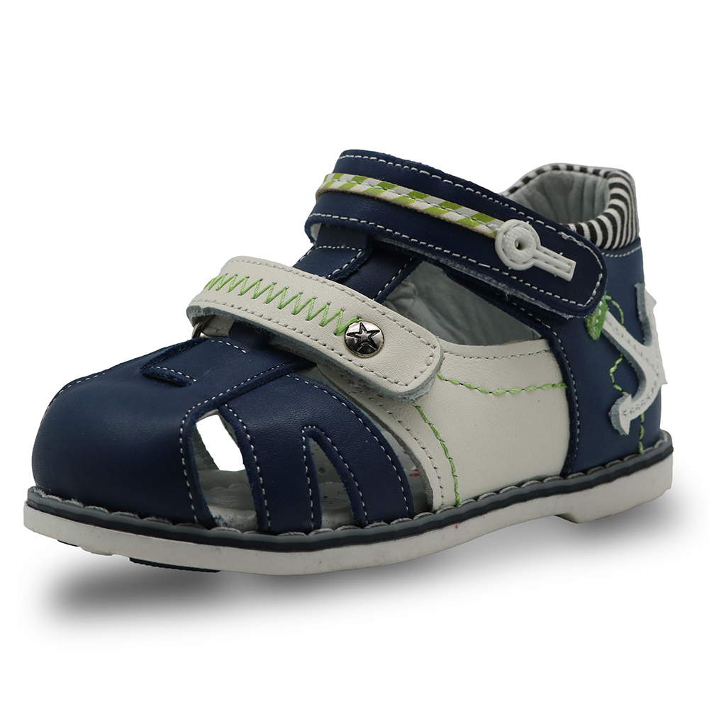 Apakowa Toddler Boys Double Adjustable Strap Closed-Toe Geniune Leather Sandals with Arch Support M05