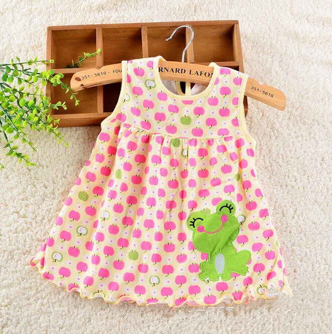 100% Cotton Baby Girl Dress Newborn Infant Girl Dresses Baby Dress Summer Princess Cute Cartoon Baby Girl Dress Sleeveless(China (Mainland))
