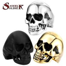 Steel soldier mix color mix size 316L Stanless Steel Fashion Jewelry Men's Punk Smooth Black/Gold Skull Rings Man BR8-022(China (Mainland))