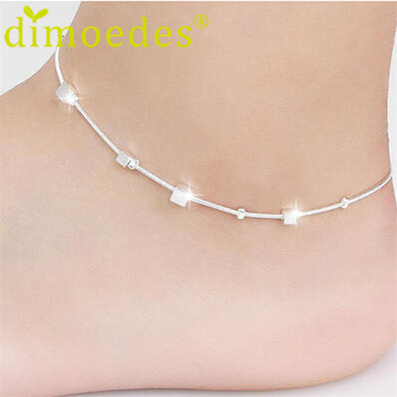Brand new Ankles 2015 fashion Small Box plated Silver Jewelry Barefoot Sandals Leg Chaine women Foot Bracelet Cheville chain(China (Mainland))