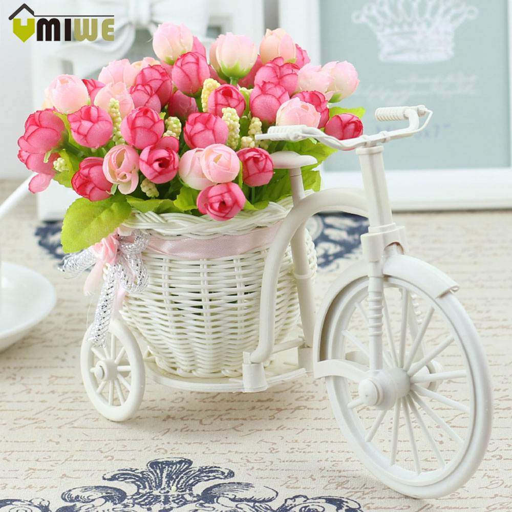 Umiwe 14 Heads Simulation Silk Flowers Persian Roses Bike Rattan Vase + Artificial Flower Set For Home Decoration Birthday Gift(China (Mainland))