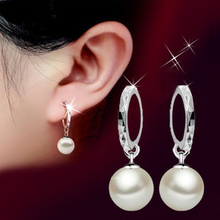 DALI New Arrival Platinum Plated Earrings for women White Round Imitation Pearl Earrings Party Jewelry for Girls PE20(China (Mainland))