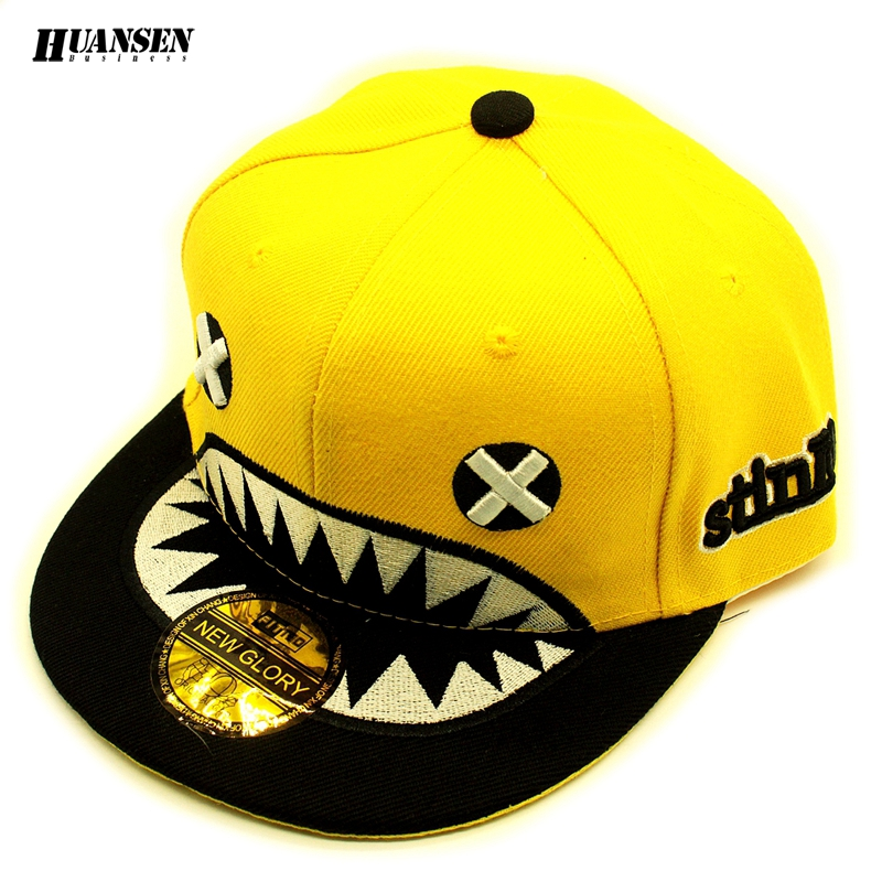 Brand new shark embroidery spring summer hip hop hat Fashion caps snapback Good baseball cap kids Unique girls boy cap child(China (Mainland))
