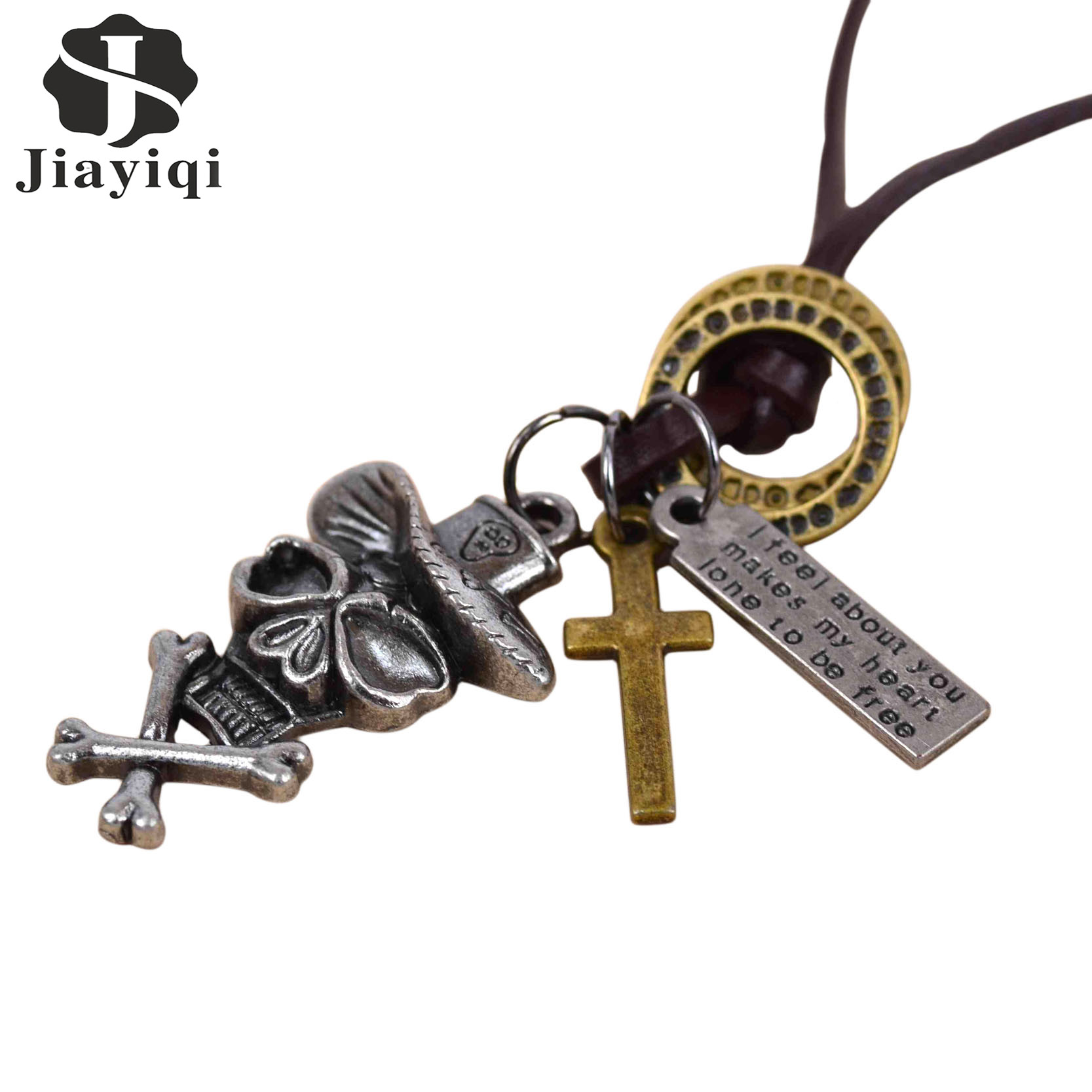 Summer Jewelry Skull & Cross Necklace Colar Vintage Punk Statement Necklace & Pendant Leather Necklace For Women Men Jewerly(China (Mainland))