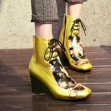 Moda 2016 de otoño e invierno nuevos zapatos de cuero de impresión zapatos con botas de tacón alto botas de cabeza cuadrada de dos colores(China (Mainland))