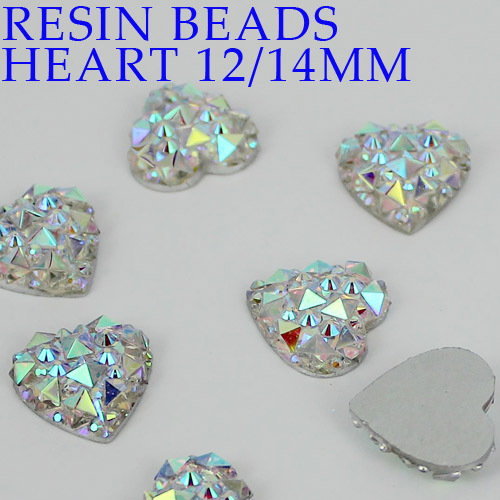 New 12mm 14mm crystal AB heart flatback resin rhinestone resin stone  on resin flatback beads Free shipping