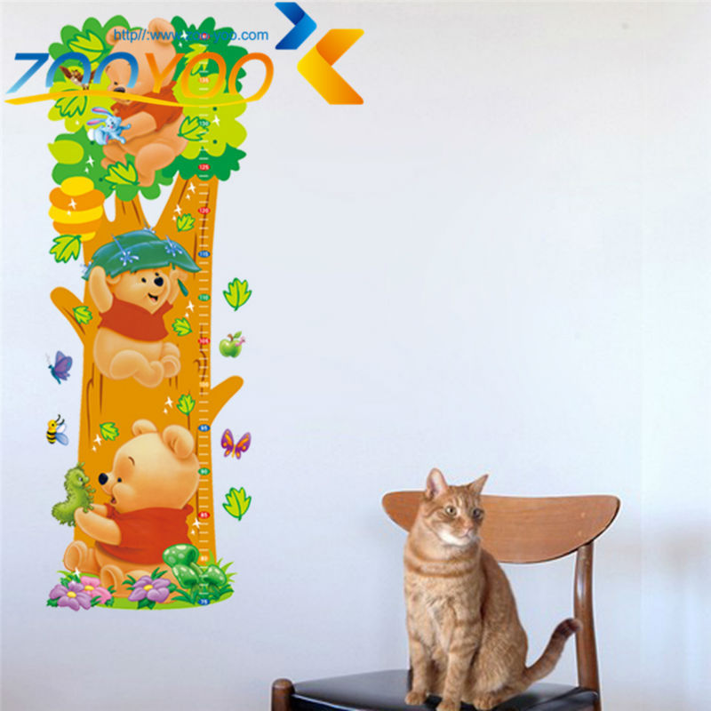 Winnie the Pooh playing on tree wall stickers for kids rooms ZooYoo2005 decorative wall decor removable pvc wall decal(China (Mainland))