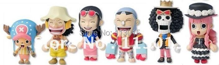 Free shipping,ONE PIECE PVC Figure Capsule Toy 6PCS/Set 62th Generations:Luffy+Chopper+Brook+Franky+Usopp+Perona, 3''Height(China (Mainland))