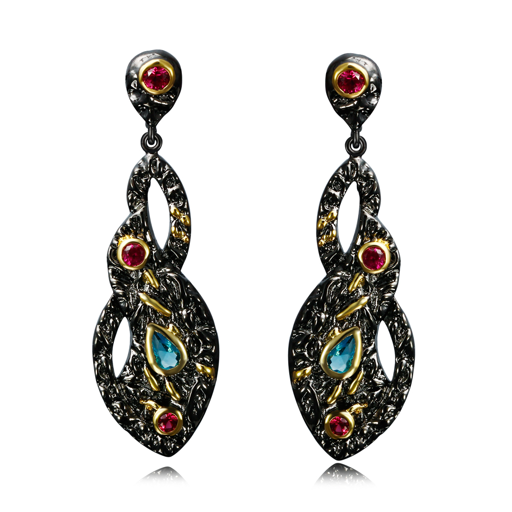 DC1989 Vintage Style Black Earrings For Women Color Big Drop Earring Contrast Gold Plated Lead Free(China (Mainland))