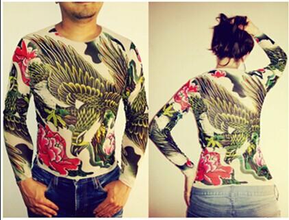 Unisex Punk Eagle Animal Tattoo Shirt Mesh Long Sleeves For Men Women Free Shipping 2015 New Fashion Summer(China (Mainland))