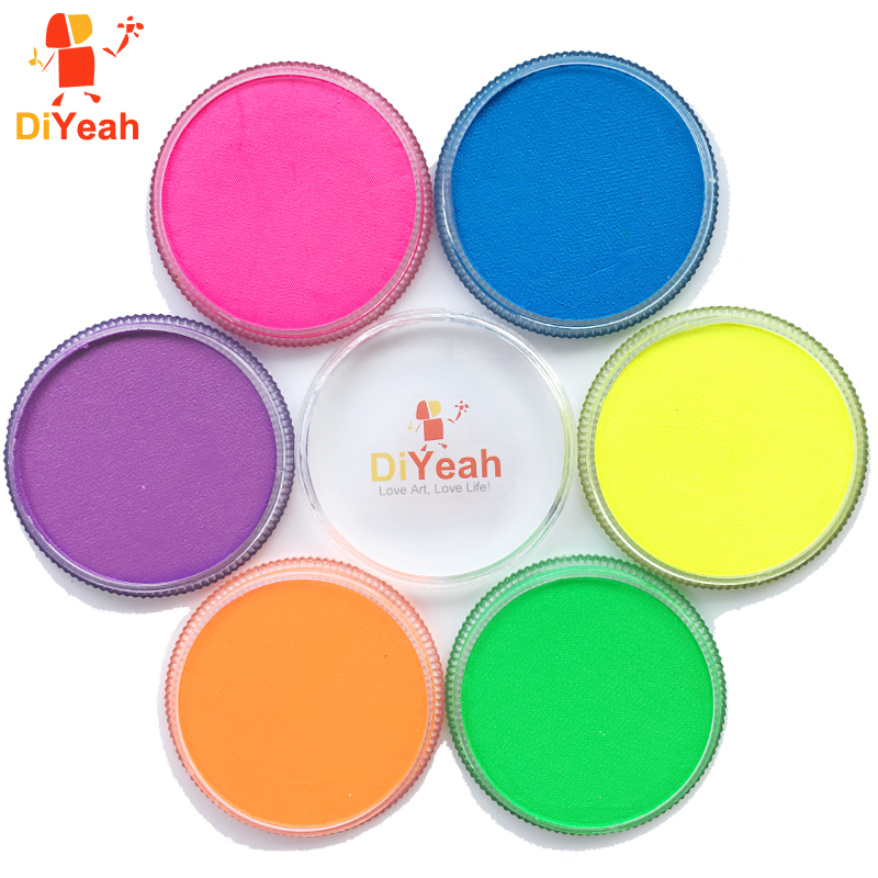 Neon Body Face Paint 6 Colors Glow Fluorescent Makeup Pigment Model Painting Body Art Tattoo for Halloween Maquiagem UV Painting(China (Mainland))