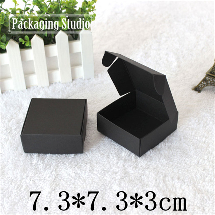 Free Shipping Black Gift Packing Box Party Favor Craft Handmade Soap Power Bank Packaging Boxes 7.5*7*3cm(China (Mainland))