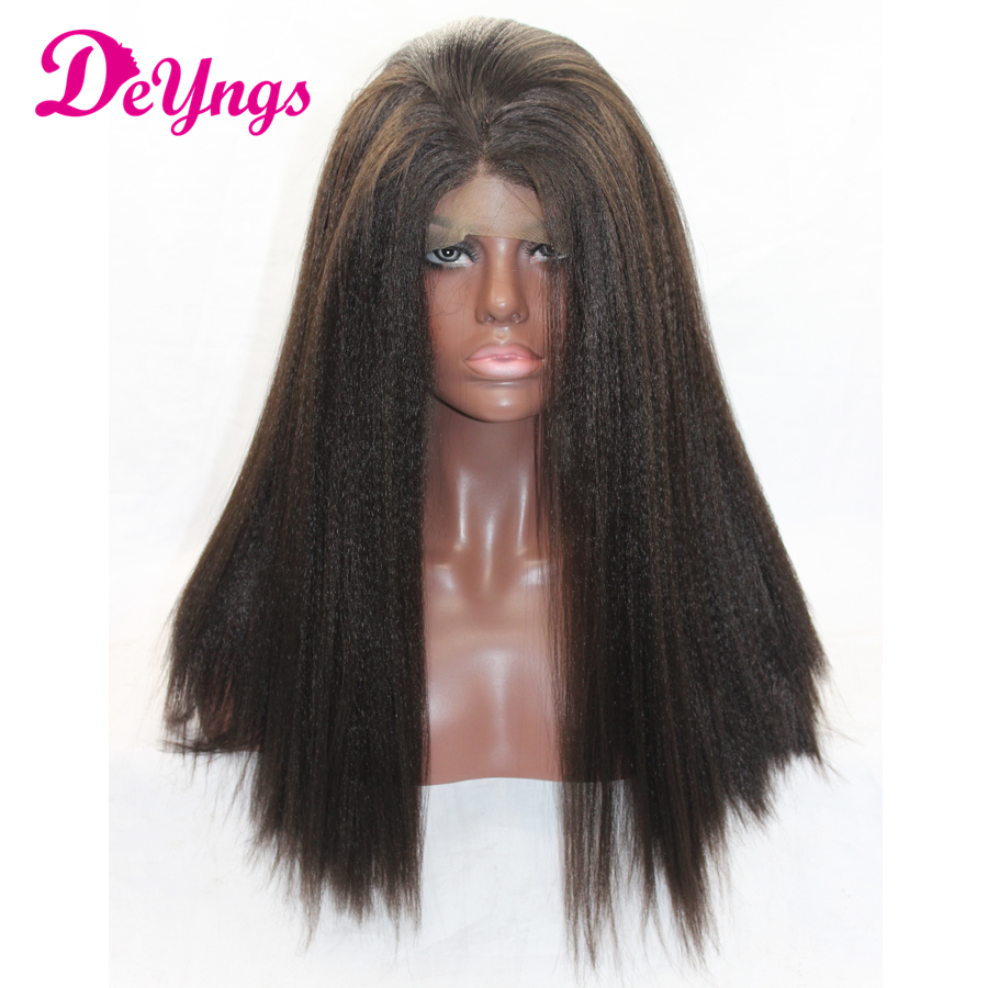 Free Ship Long Synthetic Lace Front Wigs Yaki Straight Dark Brown Color Glueless Peruca Front Lace Heat Resistant Fake Hair Wigs(China (Mainland))