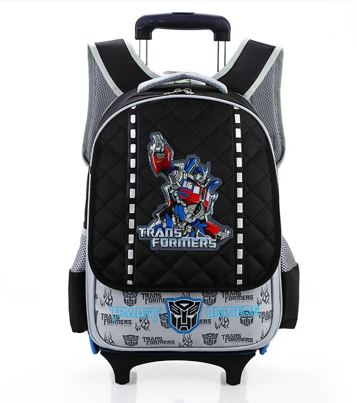 Transformers boy Trolley backpacks school Hello kid trolley suitcase US style detachable backpack waterproof