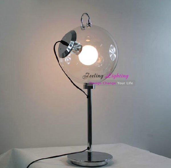 Modern Soap bubble Table Lamp Clear Glass Metal Table Desk Lamp Dia:250cm,E27 White ball bulb 40W 110V 220V 240V(China (Mainland))