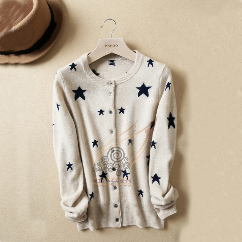 Free shipping 2015 new autumn and winter stars cashmere cardigan knit shirt casual jacket 100% pure cashmere sweater(China (Mainland))