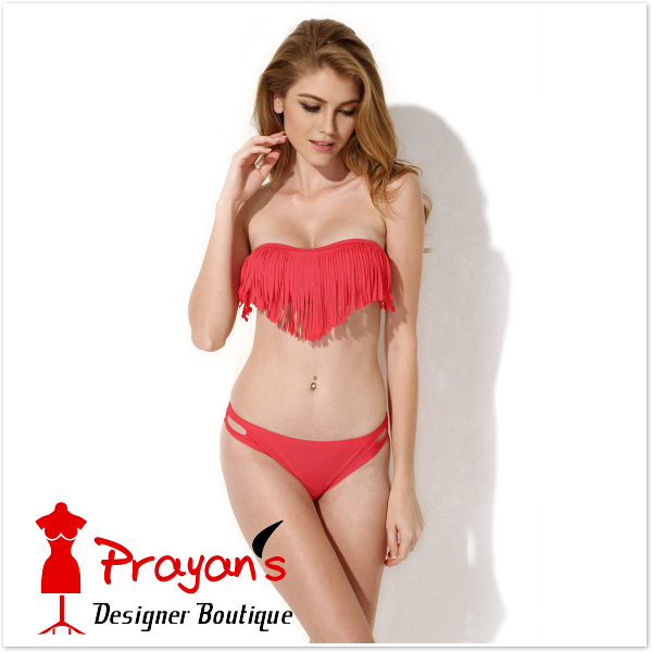 2015 New Sexy Red Bandeau Top with Fringe Detail at Bust ...