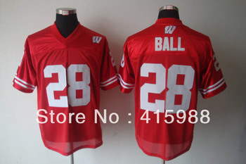 NCAA football jersey-wholesale West Wisconsin Badgers 28 Montee Ball college football jersey,size 48-56