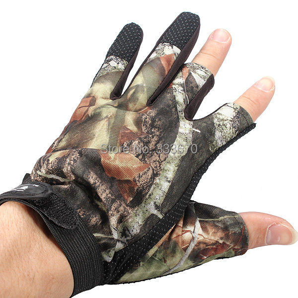 New Fishing Hunting Gloves Skidproof Pack 3 Cut Finger Anti Slip Green Camo camouflage One Size Fits All Free Shipping(China (Mainland))