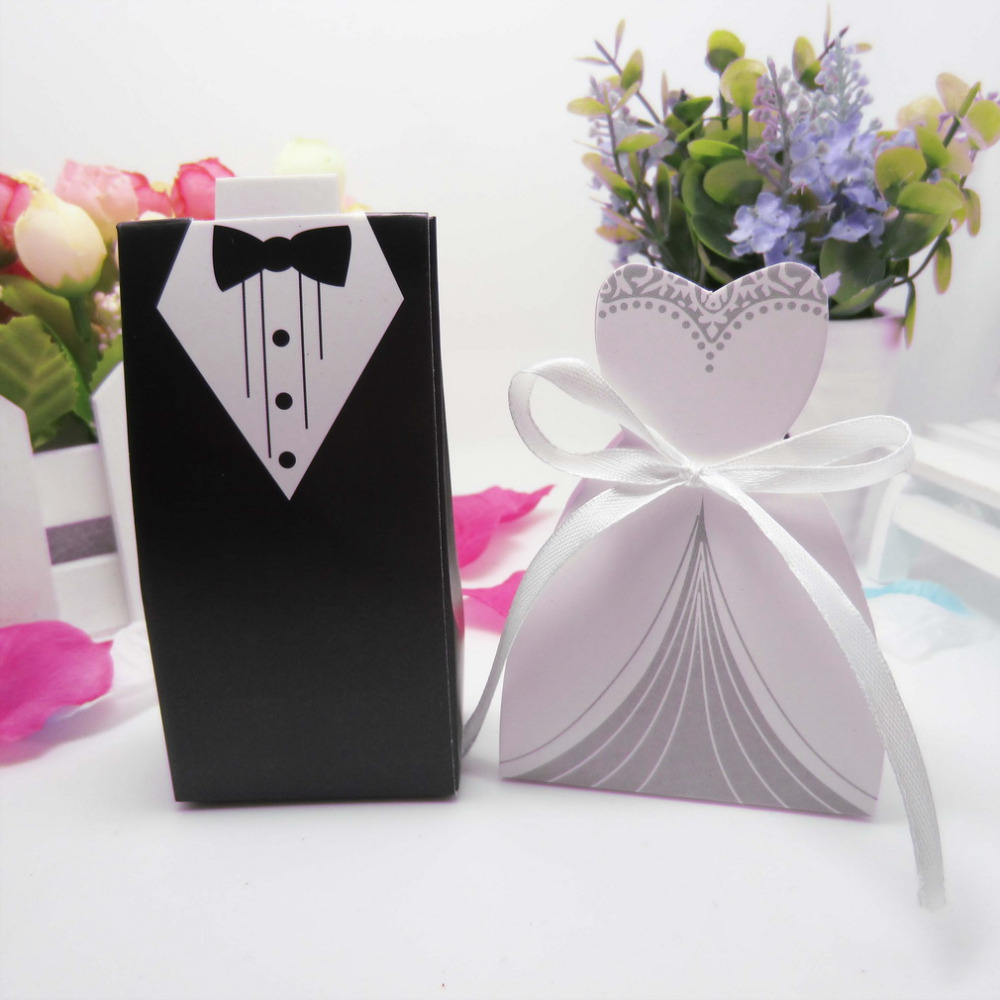 Wedding Party Gifts For Bride And Groom : decoration 50pcs bride groom candy boxes Wedding Favor and gifts ...