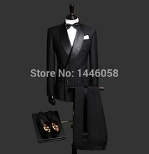 Best Selling 2016Custom Made Black Double Breasted Men Suits Wedding Suits For Men Costume HommeTerno Masculino(Jacket+Pant+Tie)(China (Mainland))