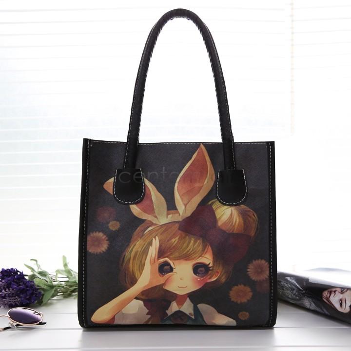 Hot Retro Printing Oil Painting Bags Women PU Leather Handbags Women Messenger Bags Shoulder Bags Cartoon Bag 18(China (Mainland))