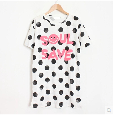 Korean Street Fashion Smiling Face Letter Polka Dot Print Holes Cotton T shirt Women Summer Long Loose Tees White Z423(China (Mainland))