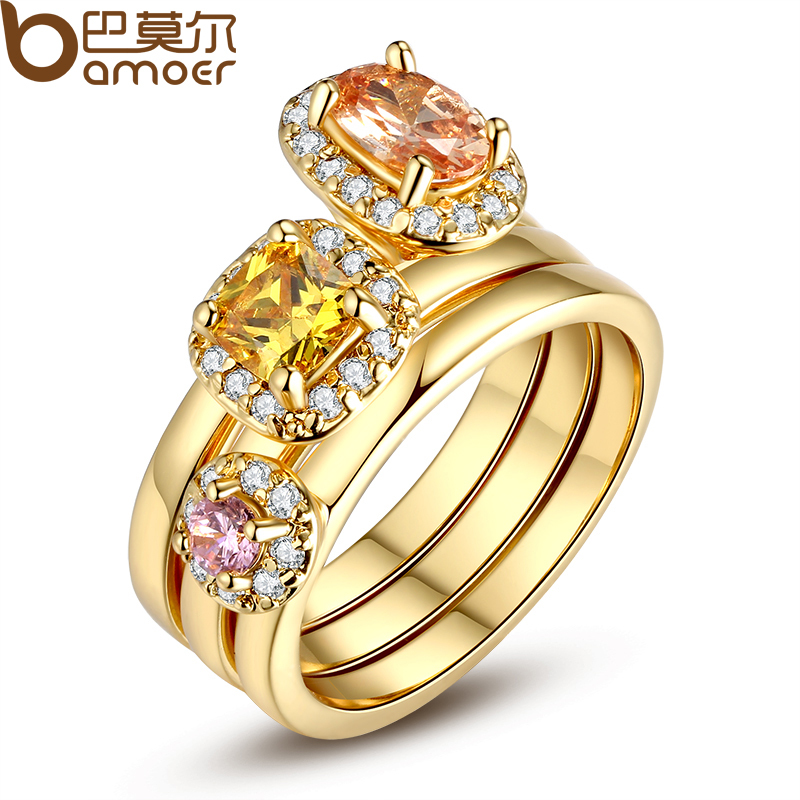 BAMOER Fashion Luxury 18K Gold Plated Finger Set Ring for Women Lady with AAA Cubic Zircon Jewelry Gift JIR034(China (Mainland))