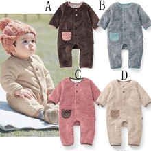 Autumn Winter Baby Clothes Flannel Baby Boy Clothes Cartoon Animal Jumpsuit Baby Girl Rompers Baby Clothing(China (Mainland))