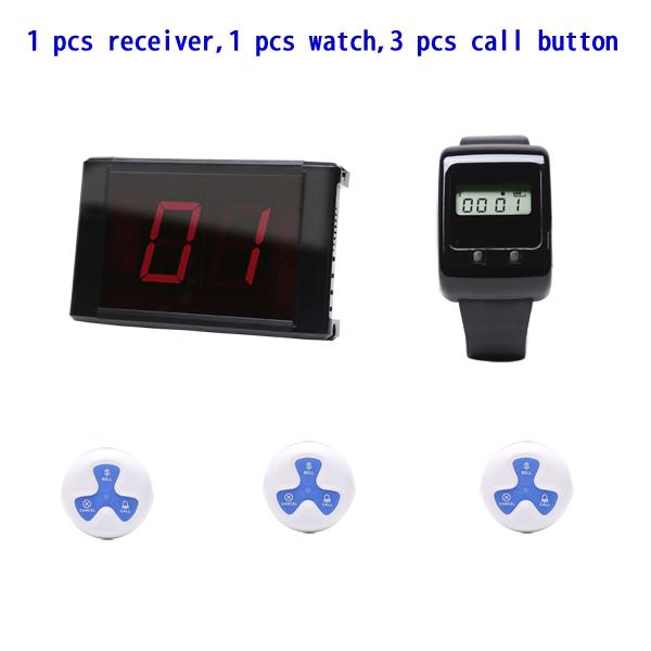 wireless pagering system,restaurant call button,restaurant call system,1 pcs receivers+1 pcs watch+3 call buttons(China (Mainland))