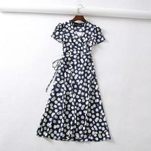 Letni kwiat nadruk w kropki sukienka typu wrap kobiety z krótkim rękawem szyfonowa sukienka plażowa koreański moda praca vestidos v neck do kolan na imprezę sukienka(China)