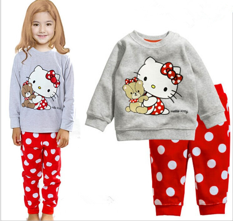 2015 New Spring Autumn Kid Pajama Set 100% Cotton KT Cart Girl Clothing 2-7 Age Brand Child Baby Clothes - good value store